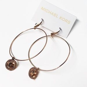 MK Brilliance Rose Gold Tone Hoops